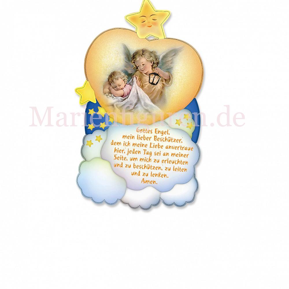 Schutzengel Holzbild Baby Mit Engel Mit Gebet Mit Laterne