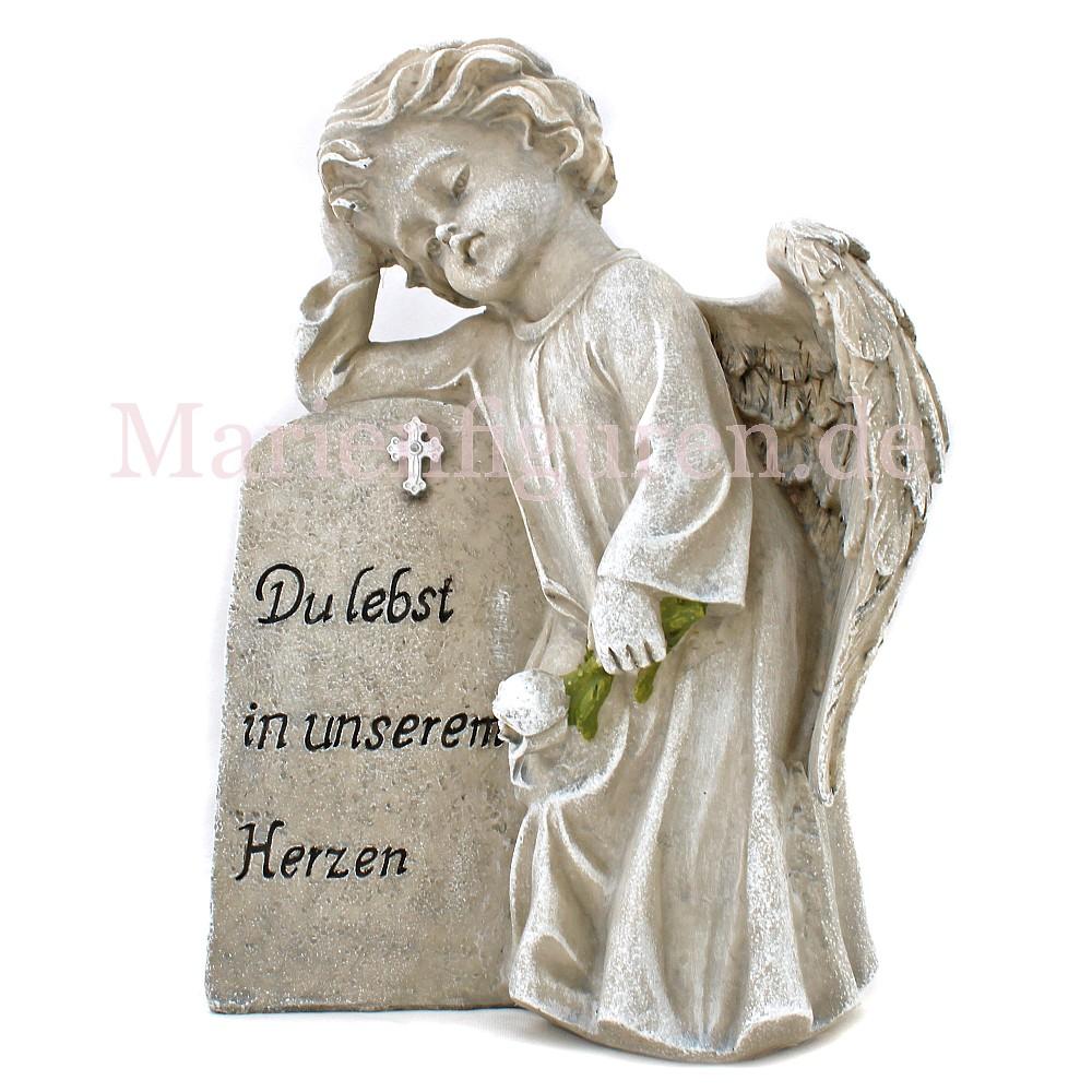 """Grabstein Herz mit betenden Hände /""""In stillem Gedenken/"""" 15 x 4 x 15 cm"""