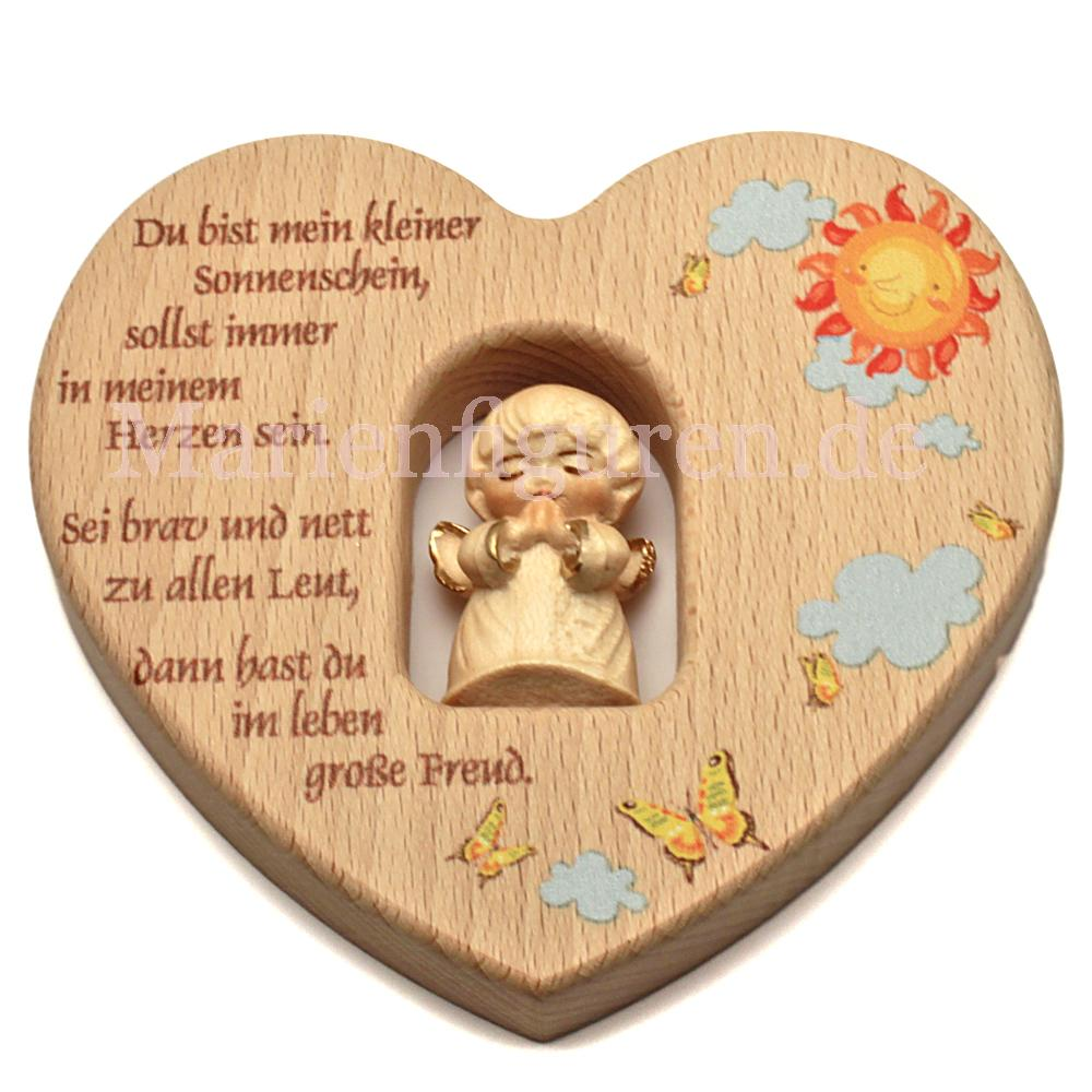 Kinderzimmer Herz mit geschnitztem Engel, Sonnenschein