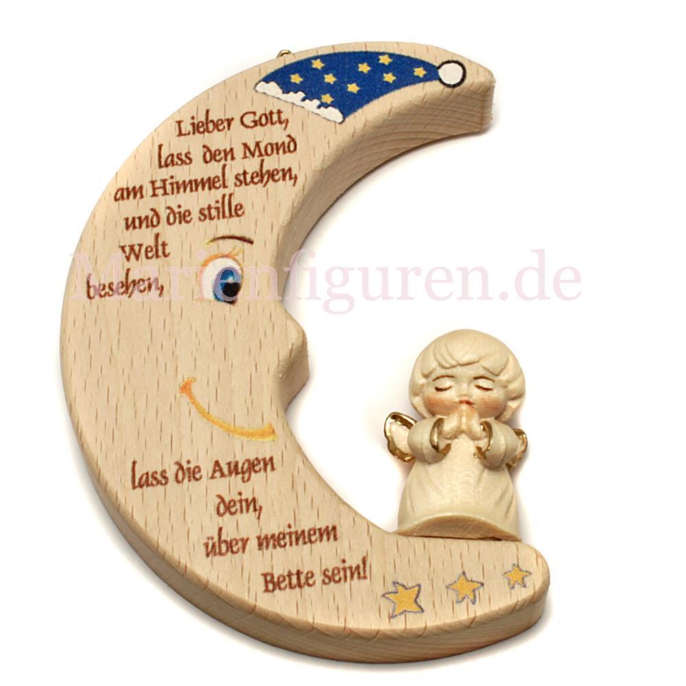 Kinderzimmer Mond mit Mütze und geschnitztem Engel