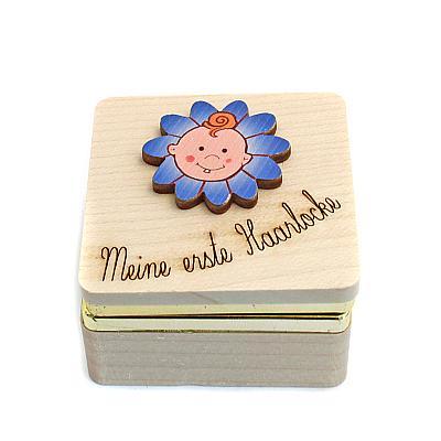 Holzdose für Haarlocke, blau (Blau)