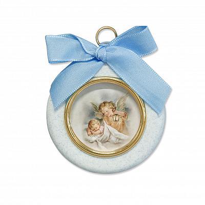 Engelbild 'Schutz im Schlaf', rund hellblau mit Band (Hellblau)