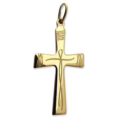 Schmuckkreuz goldfarben, stilisierter Jesus