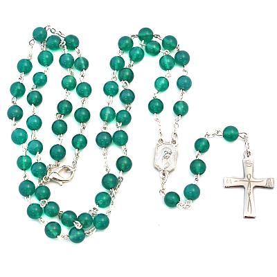Rosenkranz Achat grün, versilbert