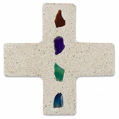 Kreuz mit Achat-Stücken, bunt