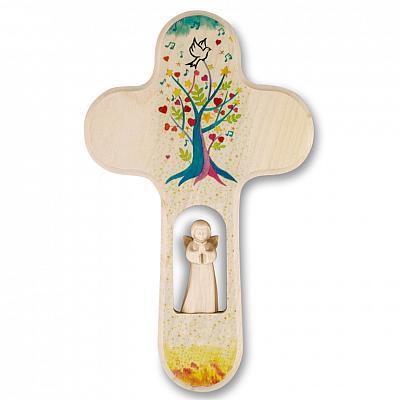 Kinderkreuz 'Lebensbaum mit Taube', mit Schutzengel