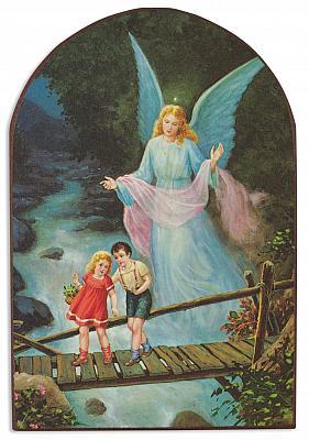 Bild Schutzengel mit Kinder auf Brücke, abgerundet