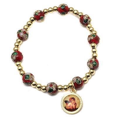 Armband Cloisonne 'Raphael', rot