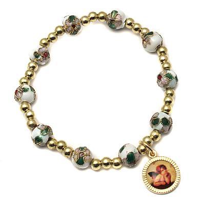 Armband Cloisonne 'Raphael', weiß