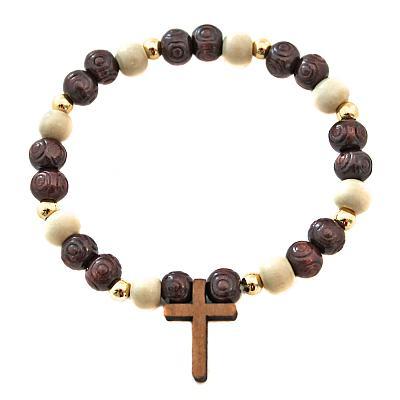 Armband Holzperlen braun/hell mit Kreuz auf Gummi