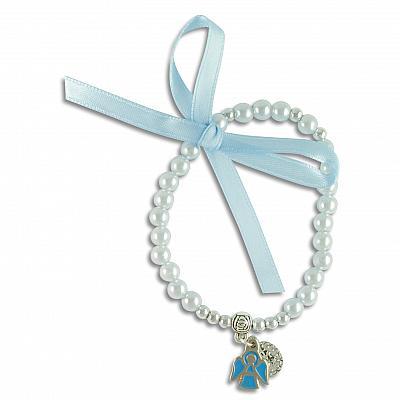 Rosenkranzarmband 'Gnadenspenderin und Schutzengel', hellblau