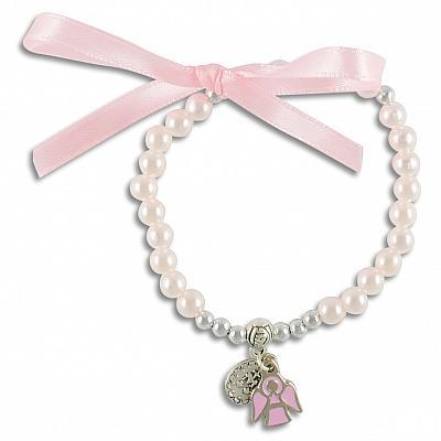 Rosenkranzarmband 'Gnadenspenderin und Schutzengel', rosa