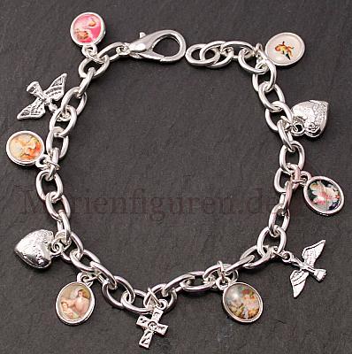 Armband silberfarben mit Anhängern und Engeln
