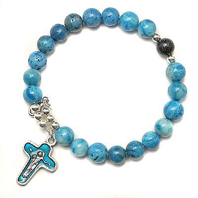 Armspange mit Kreuz, Achat blau