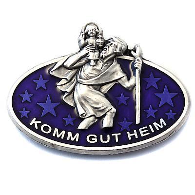 Autoplakette und Magnet Christophorus blau oval mit Sternen (Blau)