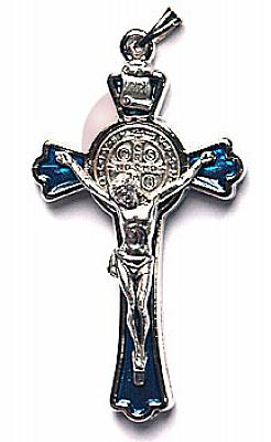 Benediktuskreuz blau (Blau/silberfarben)