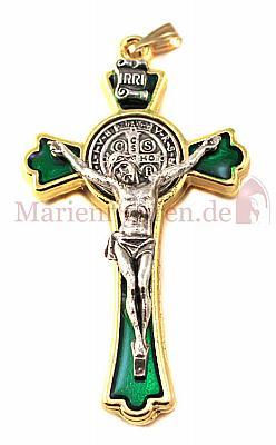 Benediktuskreuz grün und gold (Grün/goldfarben)