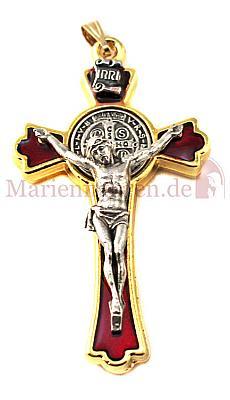 Benediktuskreuz rot und gold (Rot/goldfarben)