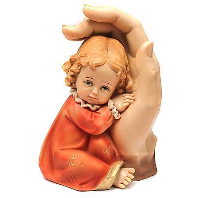 Beschützende Hand mit Kind rot (Rot)