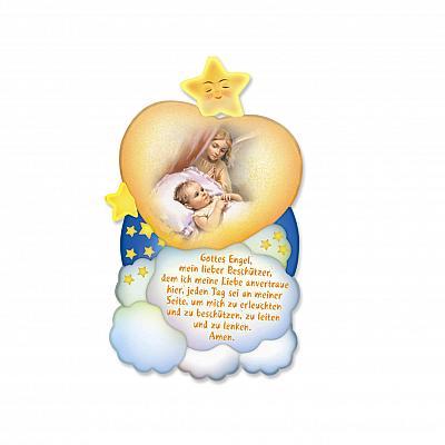 Schutzengel Holzbild wachender Schutzengel mit Gebet