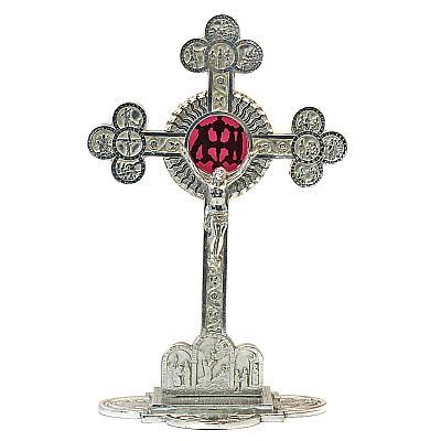 Edles St. Bonaventura-Kreuz, Zinn mit Glaseinlage