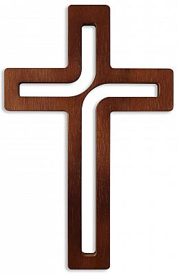 Kreuz modern Buchenholz lackiert, dunkel (Dunkel)