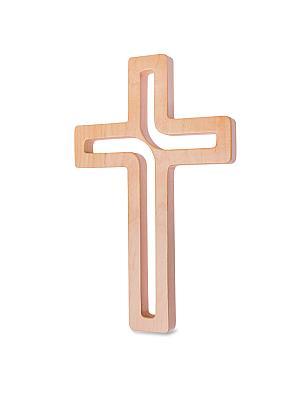 Kreuz modern Buchenholz lackiert, natur (Natur)