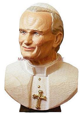 Büste Papst Johannes Paul II, Holz