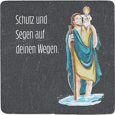 Bunte Christophorus-Plakette aus Schiefer