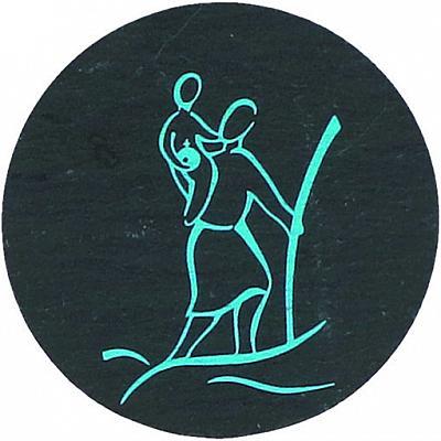 Christophorus Plakette aus Schiefer, rund