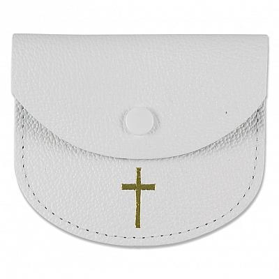 Rosenkranzetui aus Leder mit goldfarbenem Kreuz, weiß (Weiß)