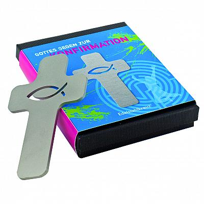 Edelstahlkreuz 'Gottes Segen zur Konfirmation'