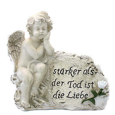 Engel am Stein 'Liebe ist stärker', links (links, 26 cm)