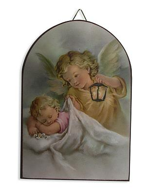 Schutzengelbild 'Beschütze mich im Schlaf', Baby und Laterne
