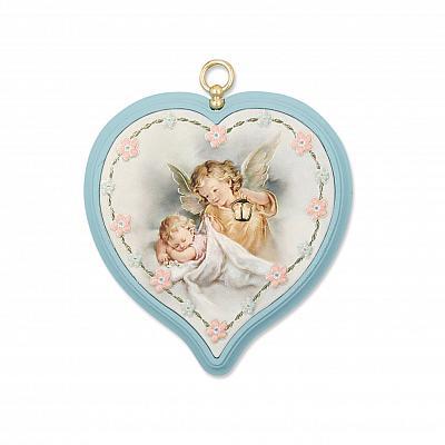 Bild Schutzengel Herz 'Schutz im Schlaf', hellblau (Hellblau)