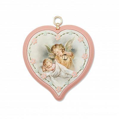 Bild Schutzengel Herz 'Schutz im Schlaf', rosa (Rosa)