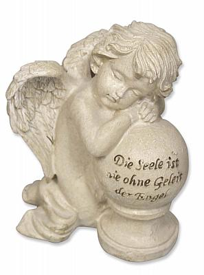 Engel kniend an Kugel 'Die Seele ist nie ohne Geleit der Engel'