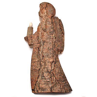 Engel mit Kerze aus Rinde geschnitzt