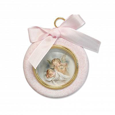 Engelbild 'Schutz im Schlaf', rund rosa mit Band (Rosa)