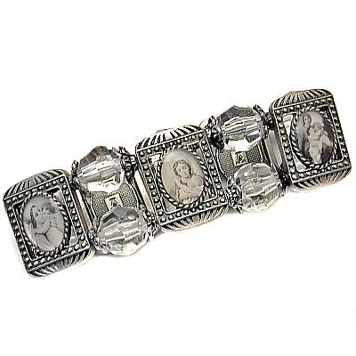 Escapulario Metall mit kristallförmigen Perlen