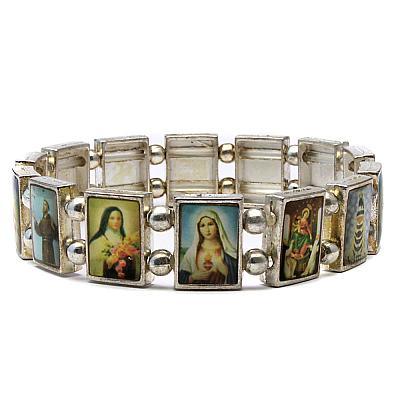 Escapulario Silberfarben 14 Heiligenbildchen