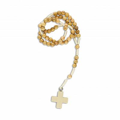 Rosenkranz aus Olivenholzperlen, geknüpft mit Holzkreuz