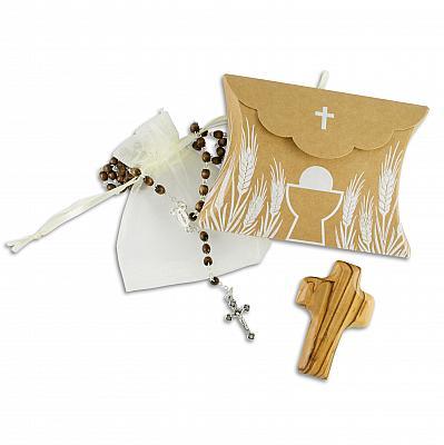Geschenkset zur Kommunion, Rosenkranz Holzperle, mit Handschmeichler (Holzperle und Handschmeichler)