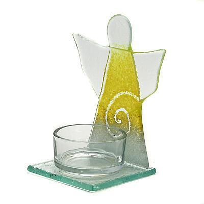 Teelichthalter Schutzengel gelb
