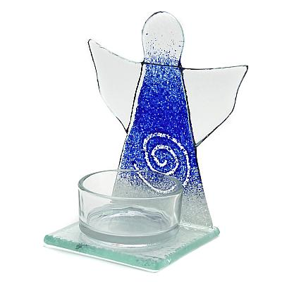 Teelichthalter Schutzengel kobaltblau