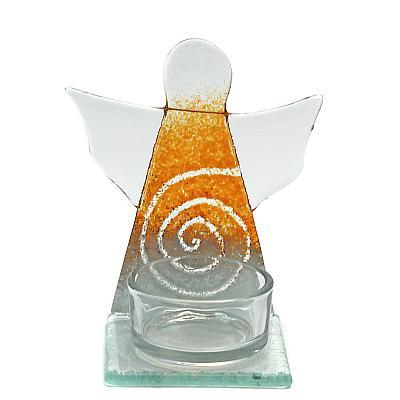 Teelichthalter Schutzengel orange