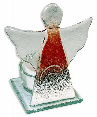 Teelichthalter Schutzengel rot