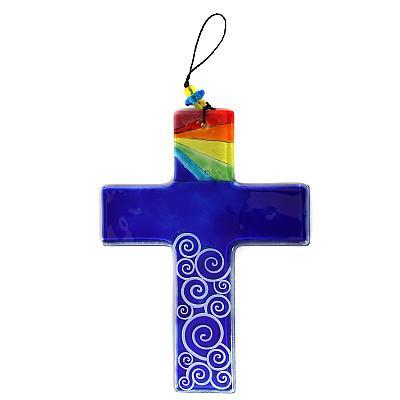 Glaskreuz blau 'Regenbogen' mit Kreisornamenten