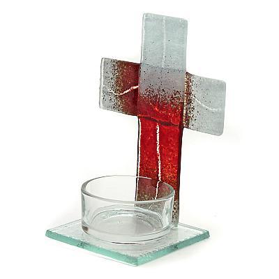 Teelichthalter Kreuz aus Glas braun/weiß