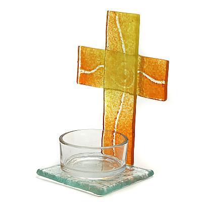 Teelichthalter Kreuz aus Glas gelb/orange